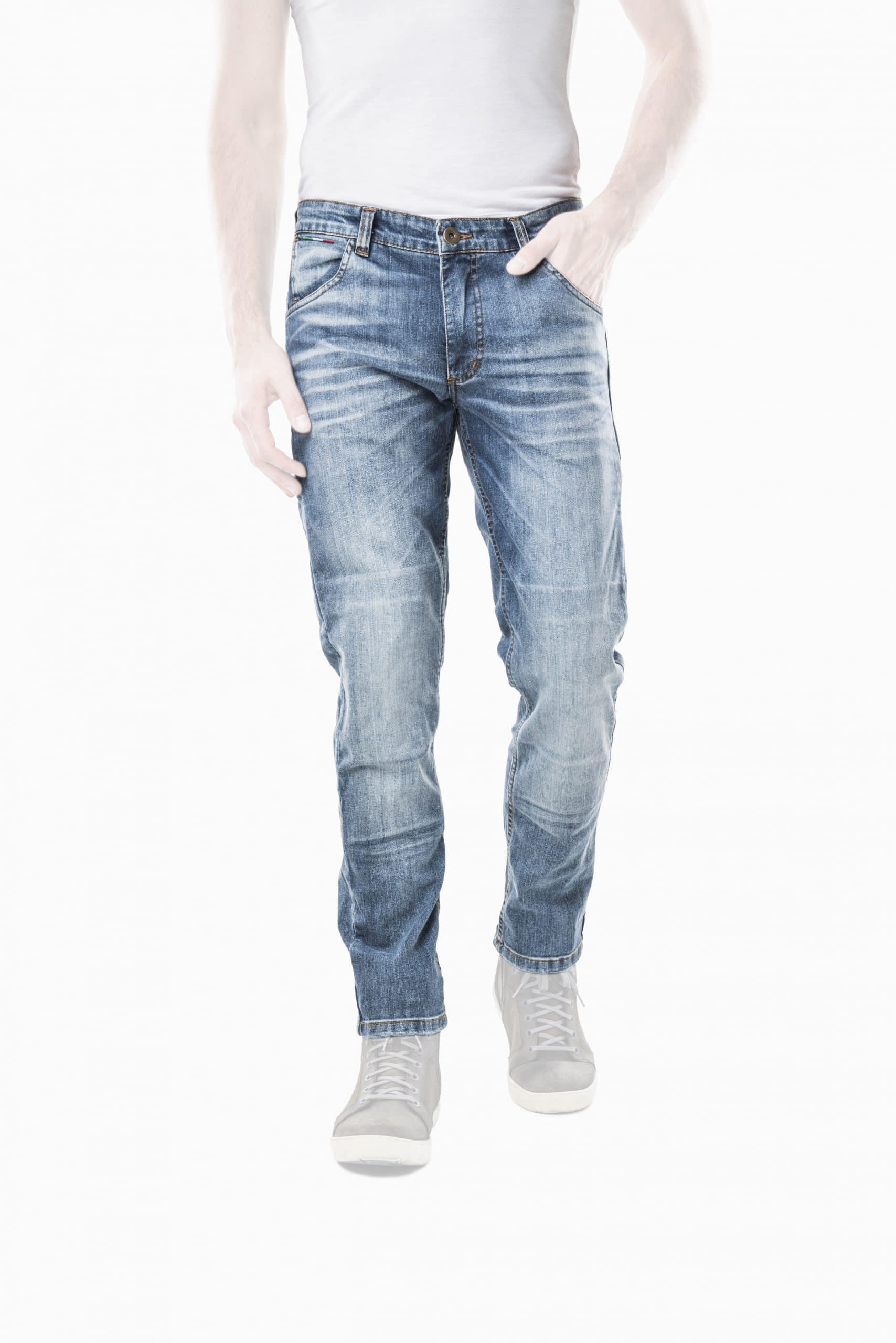 Mens Motorcycle Skinny Slim FIT Denim Jeans with Dupont/™ Kevlar/® Lining Dark Blue