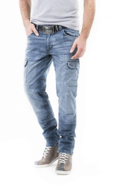motorcycle cargo jeans men kevlar-protectors-certyficate CE-Italia Cargo mottowear front view