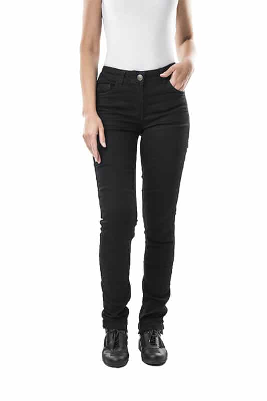 motorcycle jeans women kevlar-protectors-certyficate CE-Stella Black mottowear front view