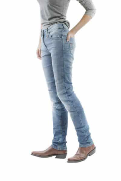 motorcycle jeans women kevlar-protectors-certyficate CE-Stella Blue mottowear side view