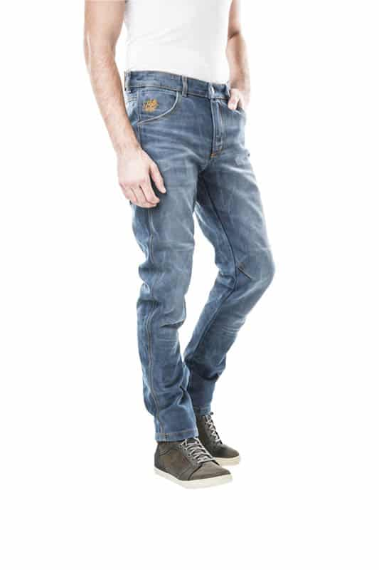 motorcycle jeans men Armalith-protectors-certyficate CE-Forte mottowear front view