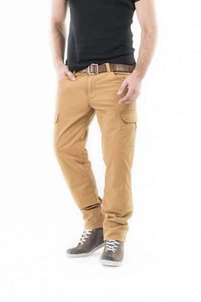 motorcycle cargo jeans men kevlar-protectors Helios mottowear front view