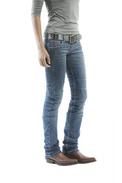 motorcycle jeans women kevlar-protectors Kira X mottowear front view