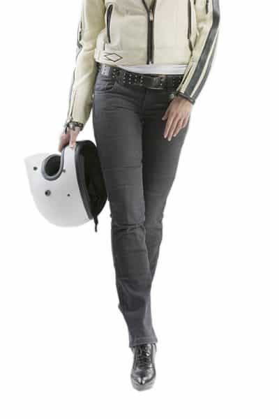 motorcycle jeans women kevlar-protectors Kira Gray mottowear front view