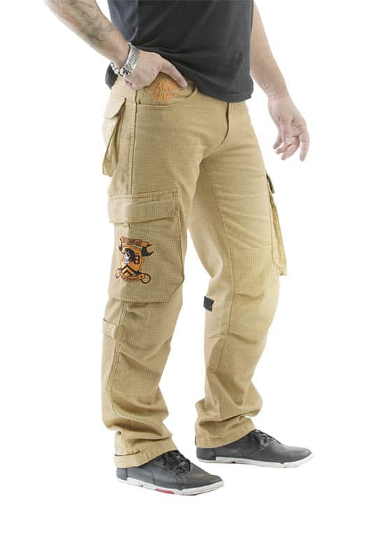 motorcycle cargo jeans men kevlar-protectors FMJ mottowear front view