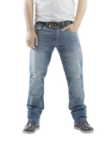 motorcycle jeans men kevlar-protectors-certyficate CE-Gallante blue mottowear front view