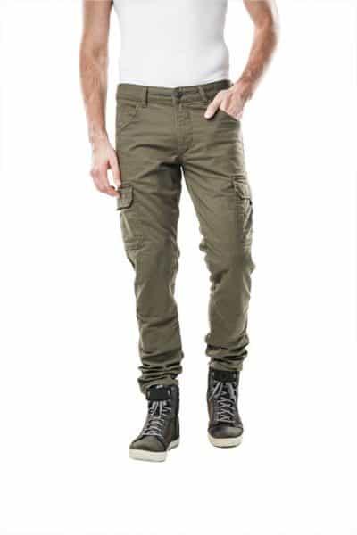 motorcycle cargo jeans men kevlar-protectors-Helios Green mottowear front view
