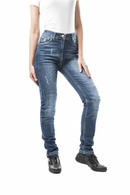 motorcycle jeans woman kevlar-protectors-certyficate CE Hiro mottowear front view