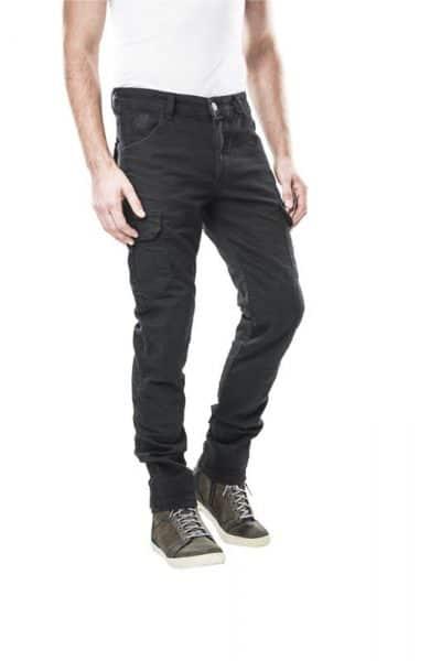 motorcycle cargo jeans men kevlar-protectors-certyficate CE-Italia Cargo Black mottowear front view