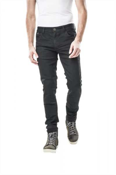 motorcycle jeans men kevlar-protectors-certyficate CE-Milano Black mottowear front view