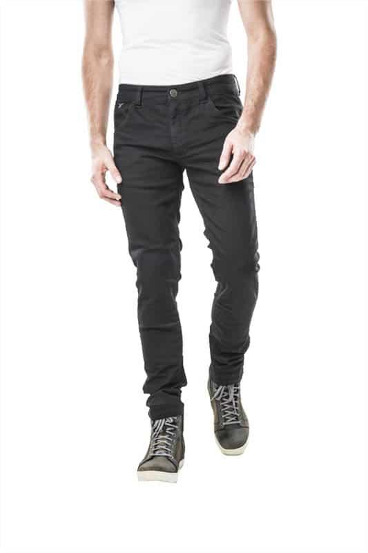 motorcycle jeans men kevlar-protectors-certyficate CE-Milano Black mottowear front view