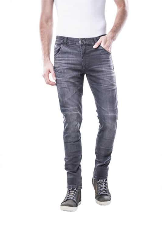 motorcycle jeans men kevlar-protectors-certyficate CE-Milano Gray mottowear front view