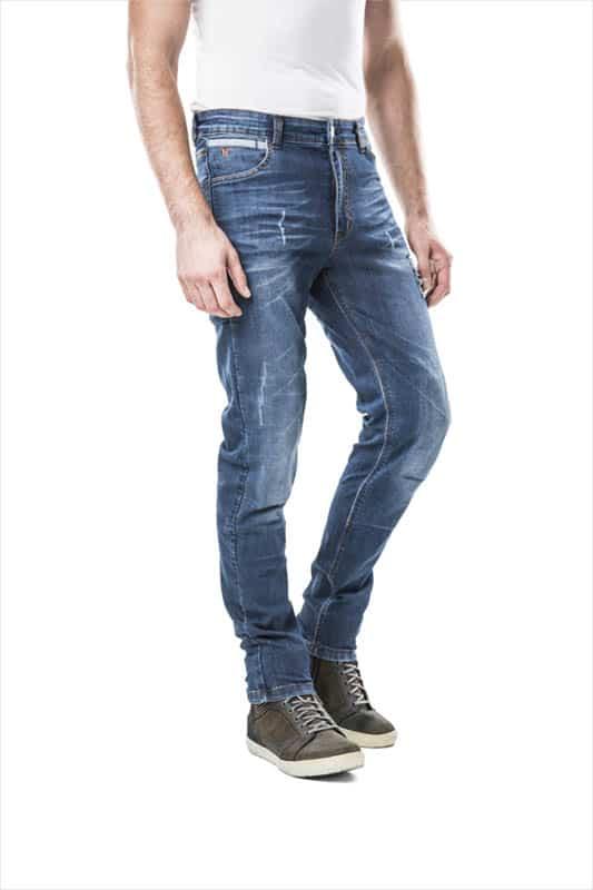 motorcycle jeans men kevlar-protectors-certyficate CE-Roma mottowear side view